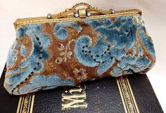 beaded velvet Victorian purse