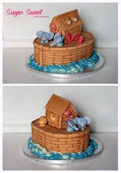 Baby Shower - Noah's Ark    Dark chocolate cake, vanilla bean buttercream, fondant & gum paste details/animals