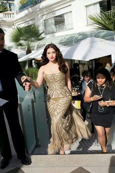 Aishwarya Rai at Cannes  2014 just before walking the red carpet