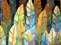 great color / love the feather shapes too Night Jungle: Betty Busby...love her work