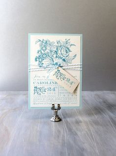 Bridal Shower Invitations, Pale Blue, Bridal Shower Wedding Cards, Floral and Vintage Inspired - 12 Colors To Choose From - Deposit White Bridal Shower, Bridal Shower Cards, Bridal Shower Invitations, Luxury Wedding Invitations, Wedding Stationary, Unique Invitations, Invitation Paper, Invitation Design, Invitation Ideas