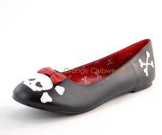 PLEASER Rockabilly Skull Gothic Flats Womens Punk Shoes | eBay