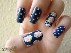 vintage roses on navy blue + navy blue & white polka dots nail art design