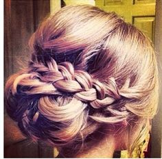 Wedding up do. I love this. The plait is so sweet, and it's a style that would…