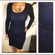 Max Studio Sweater Dress Gorgeous black and blue long sleeve sweater dress. Perfect for a date night. Ribbed detail on the upper part and sleeves. Floral detail on the bottom. Super stretchy. I would say it fits more like a medium than a small. **Offers welcome** Max Studio Dresses Long Sleeve