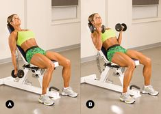 If you've been working your biceps from a standing position, it's time to mix it up with the incline bench. Changing up the angle of classic exercises pushes your body past its comfort zone, and can help you hone in on aspects of your muscles that you may be ignoring.