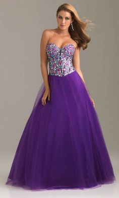 Sequin Bodice Long Strapless Sweetheart Purple Prom Dress
