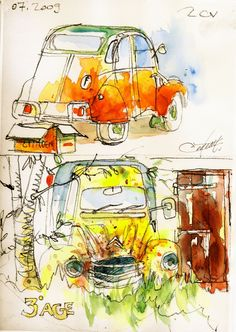Zwei Pferde - Auto Racing - - Fitness and Exercises, Outdoor Sport and Winter Sport Watercolor Sketchbook, Artist Sketchbook, Watercolor Art, Artist Journal, Poster S, Art Techniques, Race Cars, Sport Cars, Book Art