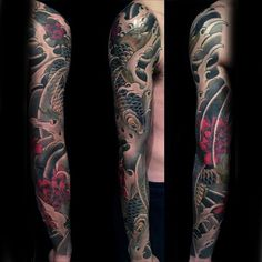 120 japanese sleeve tattoos for men - masculine design ideas Tattoo Japanese Style, Traditional Japanese Tattoos, Japanese Tattoo Designs, Japanese Sleeve Tattoos, Full Sleeve Tattoos, Tattoo Sleeve Designs, Tattoo Designs For Women, Tattoos For Guys, Tattoos For Women