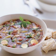 This minestrone recipe features everything you've ever wanted: flavor, excitement and quickness. Wine Recipes, Soup Recipes, Beans Vegetable, Veg Soup, Natural Supplements, White Beans, Soups And Stews, Cheeseburger Chowder, Stuffed Mushrooms