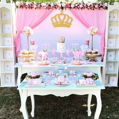 The dessert table at this Princess Baby Shower is adorable!!! See more party ideas and share yours at CatchMyParty.com #catchmyparty #babyshower #princess #vintage