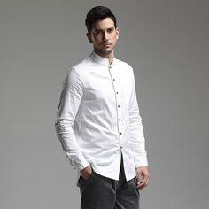 Modern Mandarin Collar Snap Button Shirt - White - Chinese Shirts & Blouses - Men
