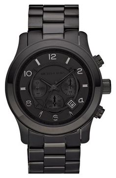 Michael Kors 'Blacked Out Runway' Chronograph Watch... my man would love this!