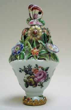 ST. JAMES FACTORY (GIRL-IN-A-SWING) SCENTBOTTLE VASE OF FLOWERS Circa 1755