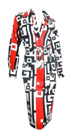 Deco Red and Black Design Lanvin Shirt Dress circa 1970s - Dorothea's Closet Vintage