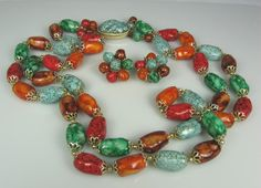 Vintage Colorful Two Strand Plastic Necklace by TheFashionDen, $18.00