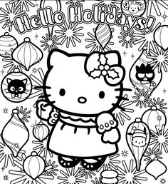 coloriage hello kitty et les decorations de noel