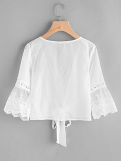 Embroidered Mesh Fluted Sleeve Self Tie Kimono -SheIn(Sheinside) Hijab Fashion, Korean Fashion, Girl Fashion, Fashion Dresses, Womens Fashion, Blouse Styles, Blouse Designs, Pretty Outfits, Cute Outfits