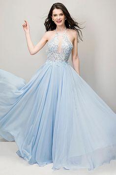 Long Prom Dresses 2016 Light Blue Lace Chiffon Halter