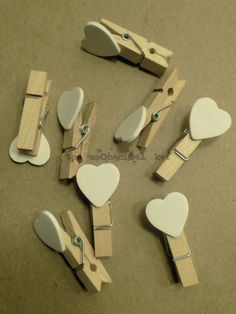 10 Mini Wooden Clothespins White Hearts Wedding Party Favors Chalkboard DIY
