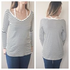 •Sale•Black&white striped long sleeved v neck top• Very cute and comfortable top! Soft material. 96% rayon 4% spandex. Have fun in this top showing off your shoulders a bit! Please allow me to make you a personal listing with your size! Thank you💫 Tops Tees - Long Sleeve