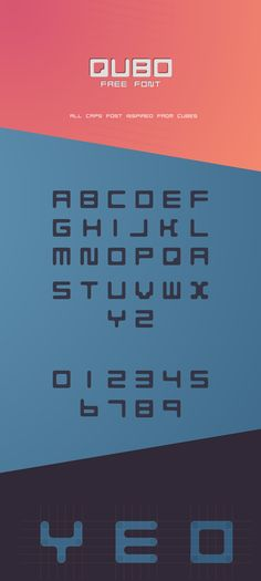 QUBO is a free all caps font inspired from cubes and blocks. #free #font