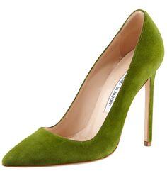 green heels | Green Manolo Blahnik high heels for St Patrick's Day