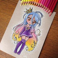 Chibi Shiro from the anime no game no Life 👑 Done with faber Castell polychromos on a toned textured Kraft paper. Cute Disney Drawings, Disney Princess Drawings, Kawaii Drawings, Cute Drawings, Kawaii Disney, Disney Art, Tim Burton Drawings, Paint Chip Art, Paint Chips