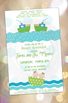 Boys and Boats - 25 Baby Announcements Sip'n'See Stork Meet Baby Boy Twins Multiples - Birthday Card Shower - Custom Quantities Invitation  by CherishByNoel, $23.00