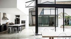 Black-framed-windows-truss-kitchen