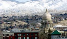 Boise, Idaho with snow in the mountains.