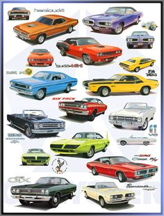 Collage of Mopars available with the Six Pack (3-2 barrel carbs.)