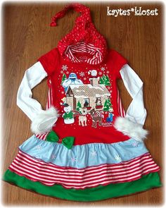 Custom Boutique RUDOLPH CHRISTMAS Upcycle Tee Dress 8 10 12 14.5x30 #rudolph