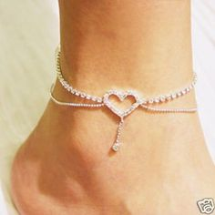 DIY your photo charms, compatible with Pandora bracelets. Make your gifts special. Make your life special! Bridal Princess Sexy Crystal Heart Shape with Dangling Double Chains Fashion Design Anklet Silver Ankle Bracelet, Foot Bracelet, Ankle Jewelry, Silver Anklets, Anklet Bracelet, Cute Jewelry, Body Jewelry, Jewelry Accessories, Gold Necklace