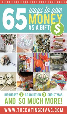 65 Ways to Give Cash as a Present- great money gift ideas! Easy Gifts, Homemade Gifts, Cool Gifts, Unique Gifts, Creative Money Gifts, Gift Money, Money Gifting, Creative Ideas, Holiday Gifts