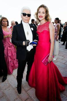 Natalia Vodianova with Karl Lagerfeld