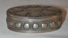 "Vintage German Oval Snuff Box 800 Silver Crescent Moon and Crown Hallmark ""H"" Maker Mark"