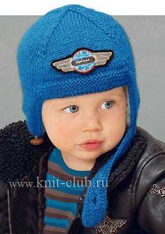 Детская шапка-шлем спицами на осень и зиму