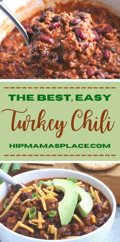 This easy, hearty turkey chili is made with ground turkey, beans and the perfect blend of spices! It's packed with protein and flavor and the perfect, cold-weather meal that will satisfy your craving for comfort food! #turkeychili #chili #chilirecipe #chilirecipes #winterrecipes #comfortfood #hipmamasplace Chili Recipes, Soup Recipes, Dinner Recipes, Healthy Recipes, Turkey Recipes, Easy Turkey Chili, Ground Turkey, Soups And Stews, Cold Weather