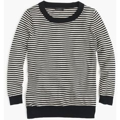 J.Crew Tippi Sweater ($115) ❤ liked on Polyvore featuring tops, sweaters, three quarter sleeve tops, layered sweater, stripe 3/4 sleeve top, j crew top e merino wool sweater