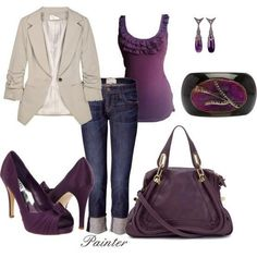 I found 'Purple Outfit with Heels, Clutch, Earrings, Jacket' on Wish, check it out!