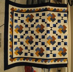 ochre and blue quilt