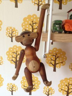 A Kay Bojesen Monkey. Classic Danish toy. Monkey Nursery, Patterned Furniture, Kids Wood, Woodworking Patterns, Toys Shop, Scandinavian Home, Danish Design, Wood Toys, Vintage Children