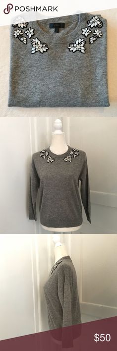 """J. Crew Opal Embellished Sweater Gently used condition. No stains, holes, or pilling. Hand-applied opal-colored clusters at neckline. Rib trim at neck, cuffs, and hem. 3/4 Length Sleeve.   Fit & Sizing -Bust: 19"""" across -Length: 23""""  Fabric & Care -wool/nylon/viscose blend -dry clean  Reasonable offers welcome via the offer button.   **Absolutely no trades please** J. Crew Sweaters Crew & Scoop Necks"""