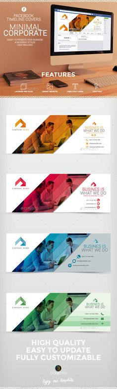 Facebook Timeline Cover - Minimal Corporate Template PSD #design Download…
