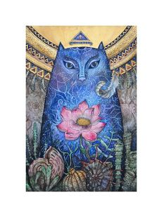 Blue cat art Pagan Tiwaz rune Wild one birthday Mermaid Witch Wicca wall decor Spiritual watercolor painting Lotus flower Art print Original