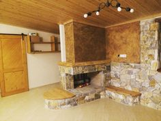 Fireplace, wood&stone