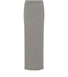 Monochrome Stripe Ribbed Split SIde Maxi Skirt