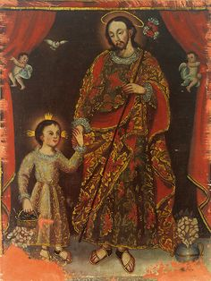 missfolly: St. Joseph with the Christ child by Anonymous Spanish Colonial painter, 1700s