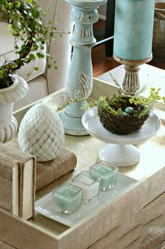 all in creams instead decorating coffee tablestray decorcoffee - How To Decorate A Coffee Table